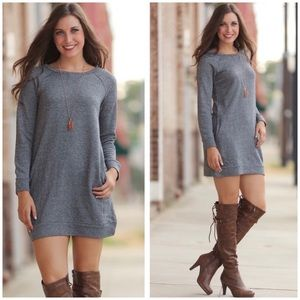 Gray Sweatshirt Dress With Pockets